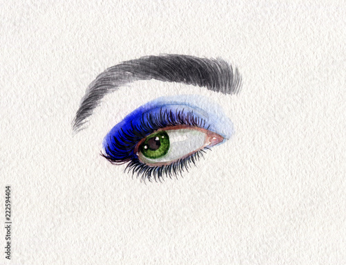 makeup. eye. beautiful woman. fashion illustration. watercolor painting