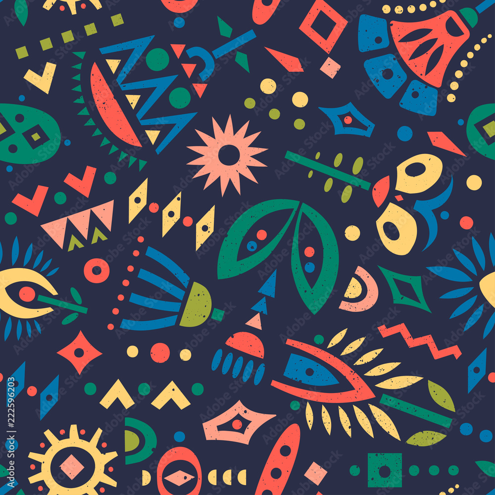 Vector seamless pattern of colorful cut out flowers and geometric shapes on a dark background.