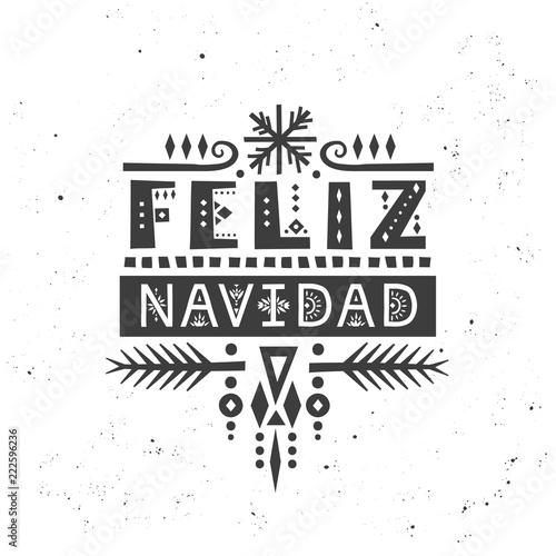 "Lettering poster ""Feliz Navidad"" (""Merry Christmas"", spanish) in ethnic style."