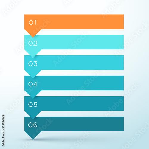 6 Step Arrow List Colorful Banners Infographic Diagram Tableau sur Toile
