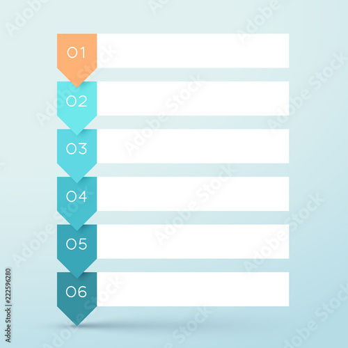 6 Step Arrow List White Banners Infographic Diagram Wall mural