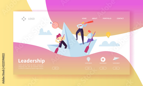 Photo  Leadership Concept Landing Page Template