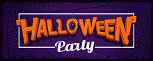 Halloween Party Horizontal Banner With Lettering Of Carved Pumpkins