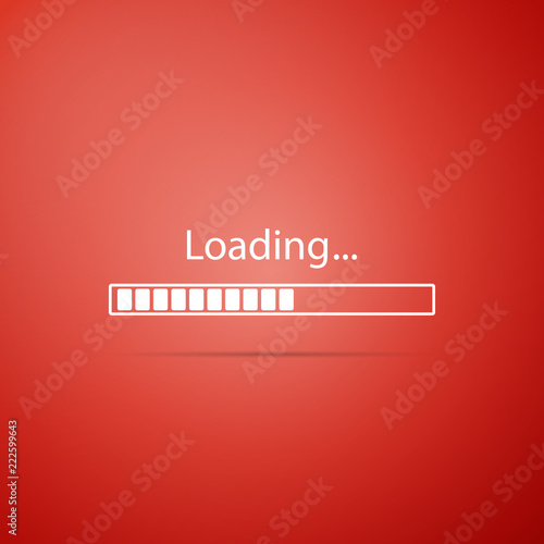 Loading icon isolated on red background. Progress bar icon. Flat design. Vector Illustration Wall mural