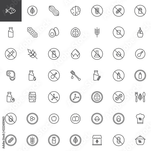 Organic food outline icons set  linear style symbols