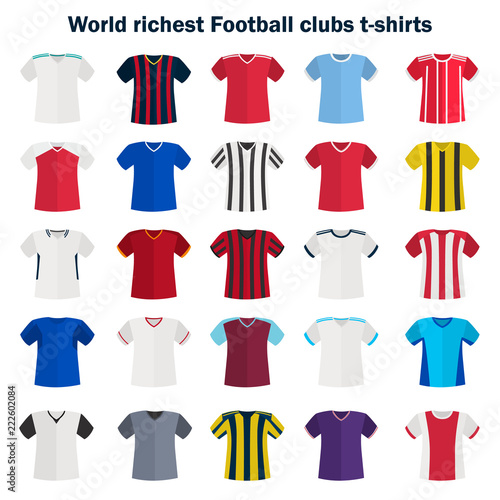 фотография  World football team shirt color vector icon set. Flat design