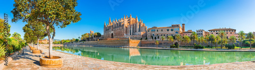 Beautiful view of Cathedral La Seu at the historic city center of Palma de Mallo Canvas Print