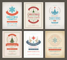Christmas Party Posters Design Set Retro Typography And Decoration Elements.