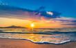 canvas print picture - Strand Meer Sonnenaufgang Morgendämmerung Urlaub Reise Sonne Morgens