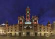 City Hall Building in Valencia, Spain Ayuntamiento wide angle, city lights lighting, night view panorama.