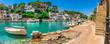 canvas print picture - Spanien Reise Meer Tourismus Sommer Urlaub Mallorca Fischer Dorf Hafen Boote
