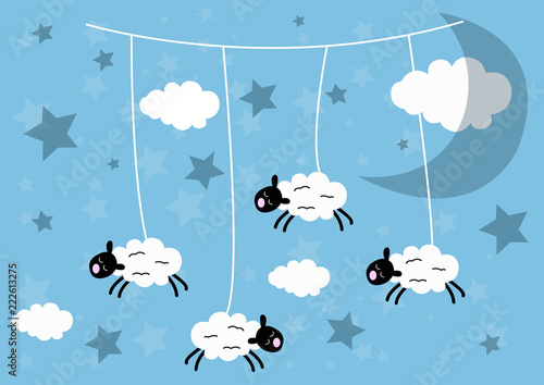 Little sheep flying in the clouds. Style cartoons. Wish a good night. Wallpaper for children
