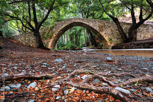 Tzelefos Bridge - one of hidden Venetian bridges in Paphos Forest, Cyprus
