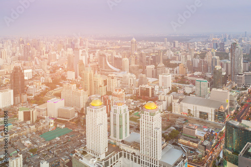 Poster Stad gebouw Aerial view Bangkok cityscape central business downtown, Thailand