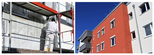 Painting works, facade painting (Collage) - fototapety na wymiar