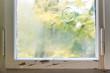canvas print picture - Fenster vereist mit Dekoration zu Weihnachten, Deko und Winter
