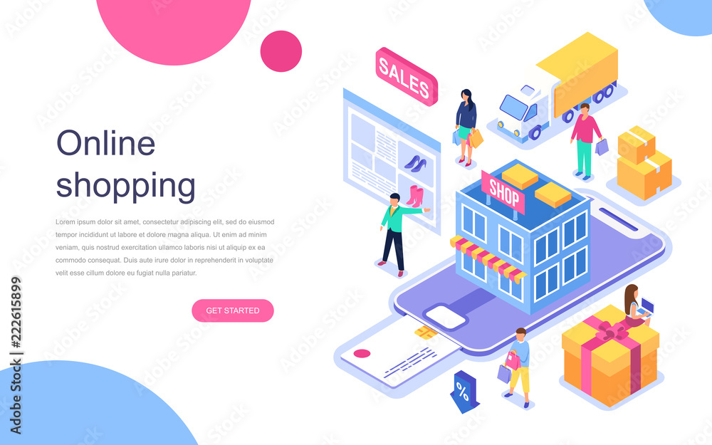 Fototapeta Modern flat design isometric concept of Online Shopping for banner and website. Landing page template. Commercial checkout pay, ecommerce retail on device for customer apps. Vector illustration.