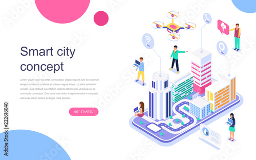 Fotografía  Modern flat design isometric concept of Smart City for banner and website