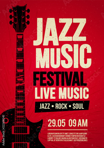 Obraz Vector Illustration poster flyer design template for Rock Jazz festival live music event with guitar in retro style on red background - fototapety do salonu