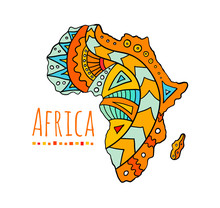 Hand-painted African Continent...
