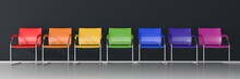 Colorful Chairs On Dark Background - Wide Banner