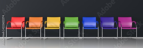 Fotografie, Obraz  Colorful chairs on dark background - wide banner