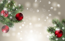 Background With Vector Detailed Christmas Tree Branches And Red Christmas Balls. Vector New Year Design For Cards, Banners, Flyers, Party Posters, Headers, Invitation.