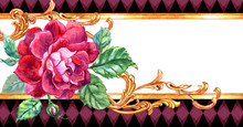 Burgundy Rose And Gold Pattern Baroque Background For Invitations, Greeting Cards And Other Designs.