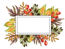 Watercolor Gouache Drawing Colorful Leaves Branches Set Of Autumn Fall Seasons Arrangement Wreath Banner Frame Border Hand Painted