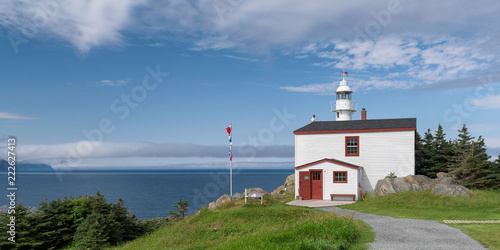Foto op Canvas Vuurtoren Lobster Cove Head Lighthouse panorama at Rocky Harbour in Newfoundland, Canada