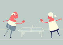 Cartoon Elderly Couple Playing...