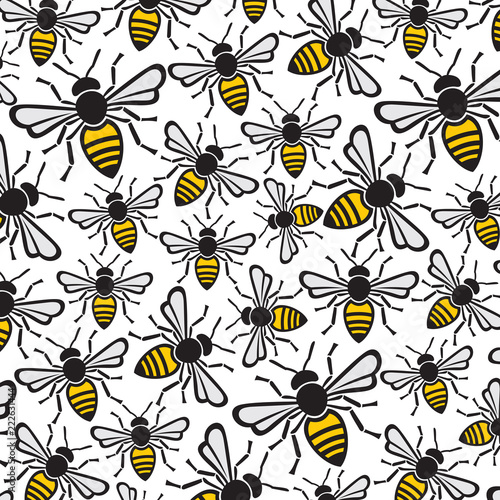 background pattern with bees Wallpaper Mural