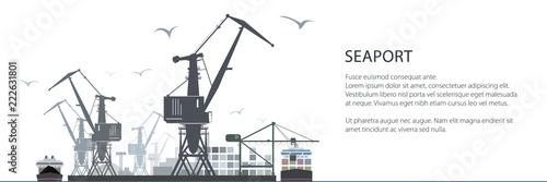 Fotografering Cargo Sea Port Horizontal Banner, Unloading of Cargo Containers from the Contain