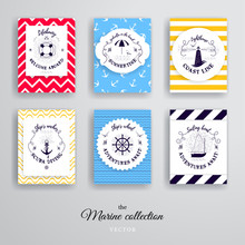 Set Of Vector Cards With Different Backgrounds. Nautical Style.