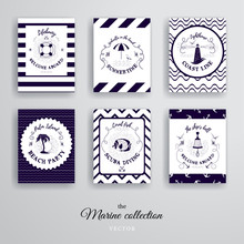 Vector Set Of Cards In Blue And White Colors. Nautical Style.