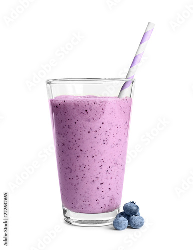 Tasty blueberry smoothie in glass on white background