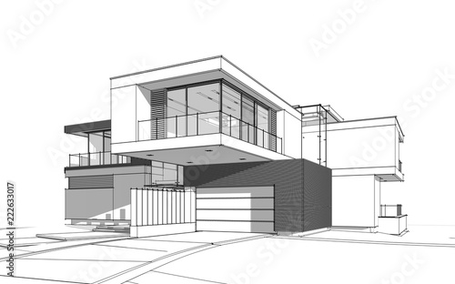 Cuadros en Lienzo 3d rendering sketch of modern cozy house by the river with garage for sale or rent