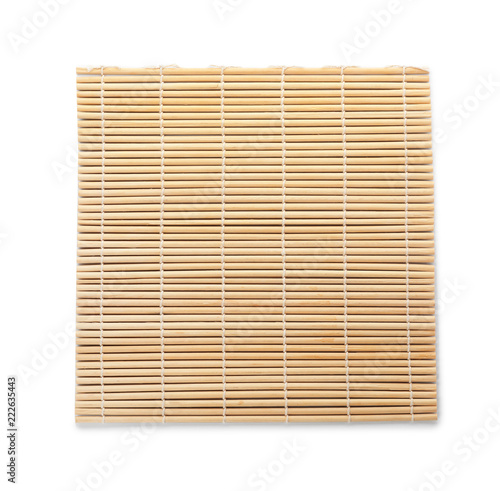 Sushi mat made of bamboo on white background, top view