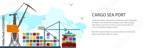 Carta da parati Cargo Seaport Banner, Unloading Containers from a Ship at the Docks with Cargo C