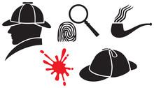 Sherlock Holmes Icons (hat, Ma...