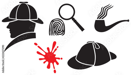 Sherlock Holmes icons (hat, magnifier, blood, fingerprint, pipe) Wallpaper Mural