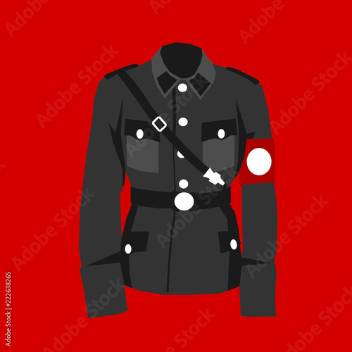 Fotografía  Nazi uniform - red field and historical clothes of military officer during world war two