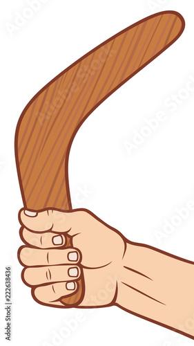 Photo boomerang in hand vector illustration