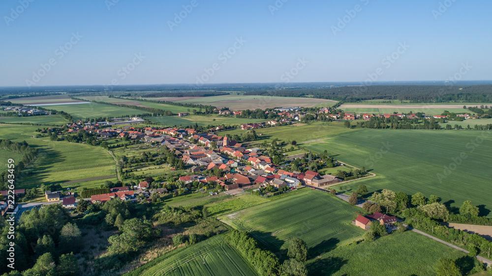 Fototapeta village Bardenitz, south of Berlin - Birds eyes view