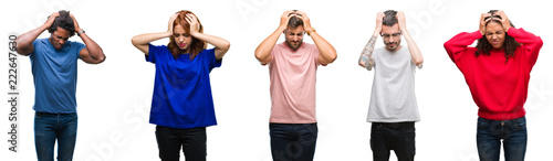 Photo  Composition of african american, hispanic and caucasian group of people over isolated white background suffering from headache desperate and stressed because pain and migraine