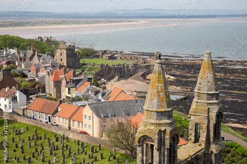 Photo Aerial view Ruins and graveyard Cathedral of St Andrews, Scotland