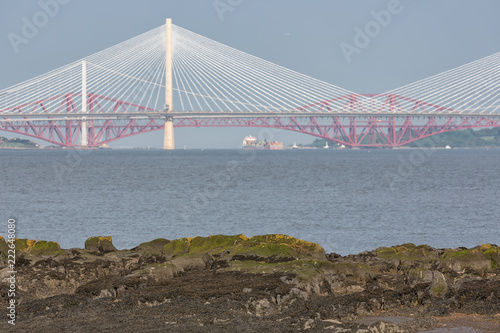 View at three rail and road bridges crossing Firth of Forth in Scotland