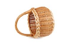Empty Wicker Basket On White B...