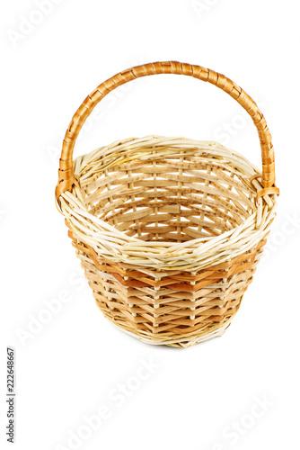 Fotografie, Obraz  Empty wicker basket on white background