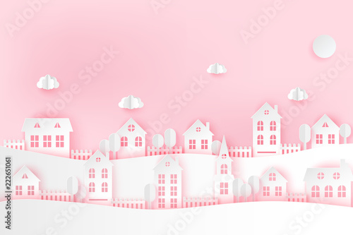 Foto op Canvas Vogels in kooien Urban countryside landscape village with cute paper houses and fluffy clouds. Romantic pastel colored paper cut background